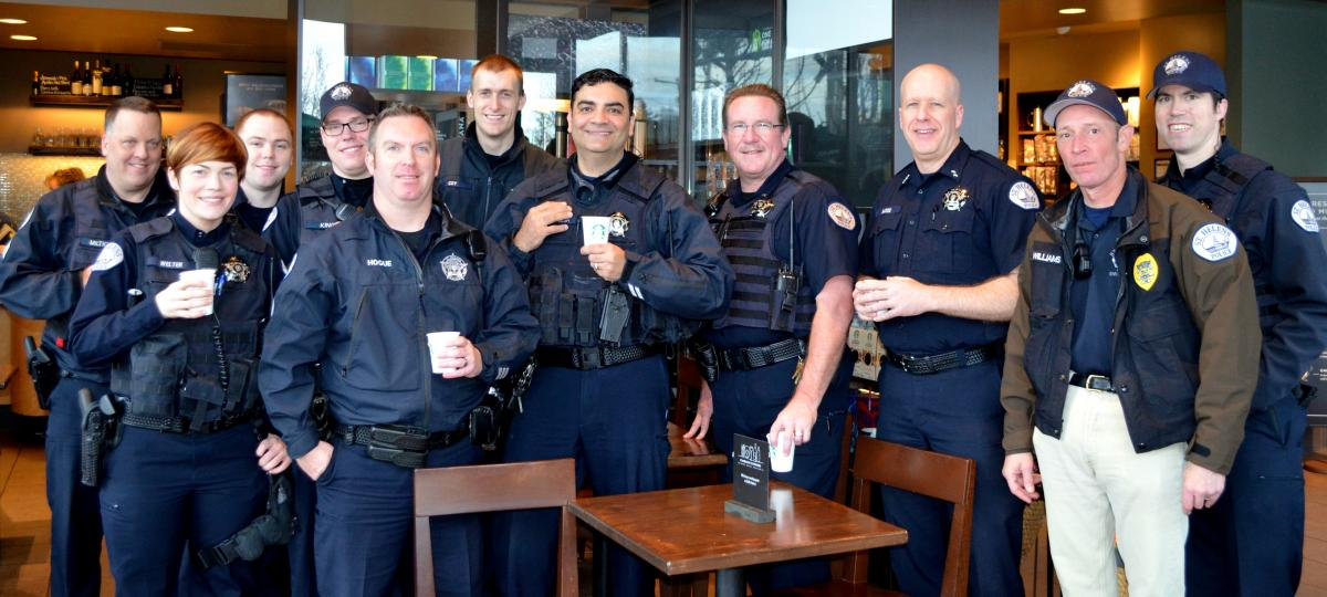 Photo of officers attending Coffee with a Cop 2016 at Starbucks